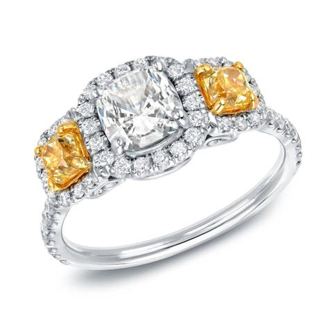 Auriya 2 carat TW 3-stone Fancy Yellow Diamond Engagement Ring 14k Gold Certified