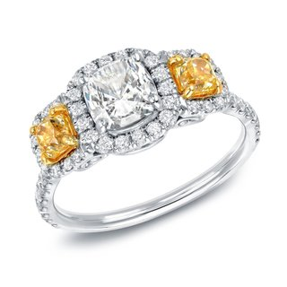 Auriya 14k Gold 2ct TDW Certified Fancy 3-Stone Yellow Diamond Halo Engagement Ring