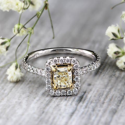 Auriya 3/4ctw Radiant-cut Halo Yellow Diamond Engagement Ring 14k White Gold