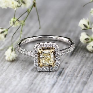 Auriya 14k White Gold 3/4ct TDW Certified Radiant Cut Yellow Diamond Ring (F-G, VS1-VS2)