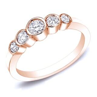 Auriya 14k Gold 14k Rose Gold 1/2ctw 5-Stone Diamond Wedding Band