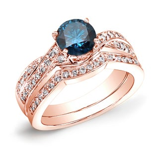 Auriya 14k Rose Gold 3/4ct TDW Round Blue and White Diamond Bridal Ring Set