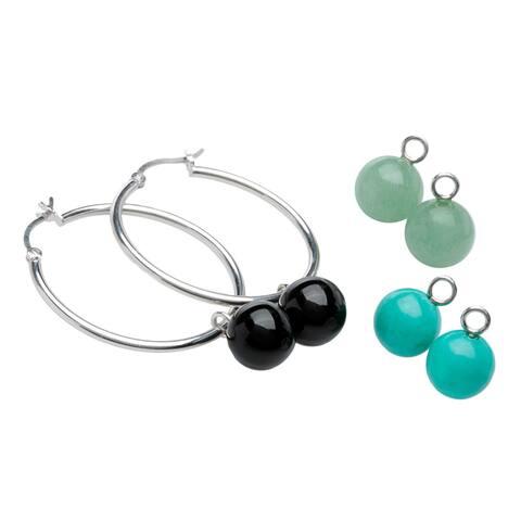 Sterling Silver Multi-gemstone Interchangeable Charm Hoop Earrings