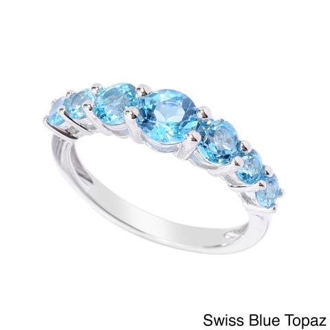 Sterling Silver Choice Gemstone Seven-stone Ring