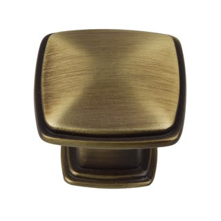 GlideRite 1.25-inch Antique Brass Square Deco Cabinet Knobs (Pack of 10)