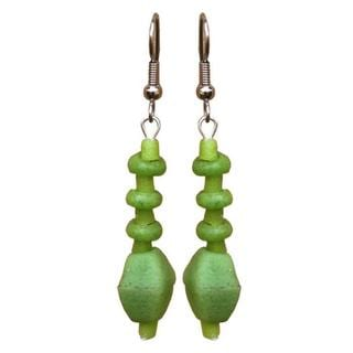 Handmade Lime Green Glass Pebbles Earrings (Ghana)