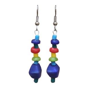 Handmade Multicolor Rainbow Glass Pebbles Earrings (Ghana)