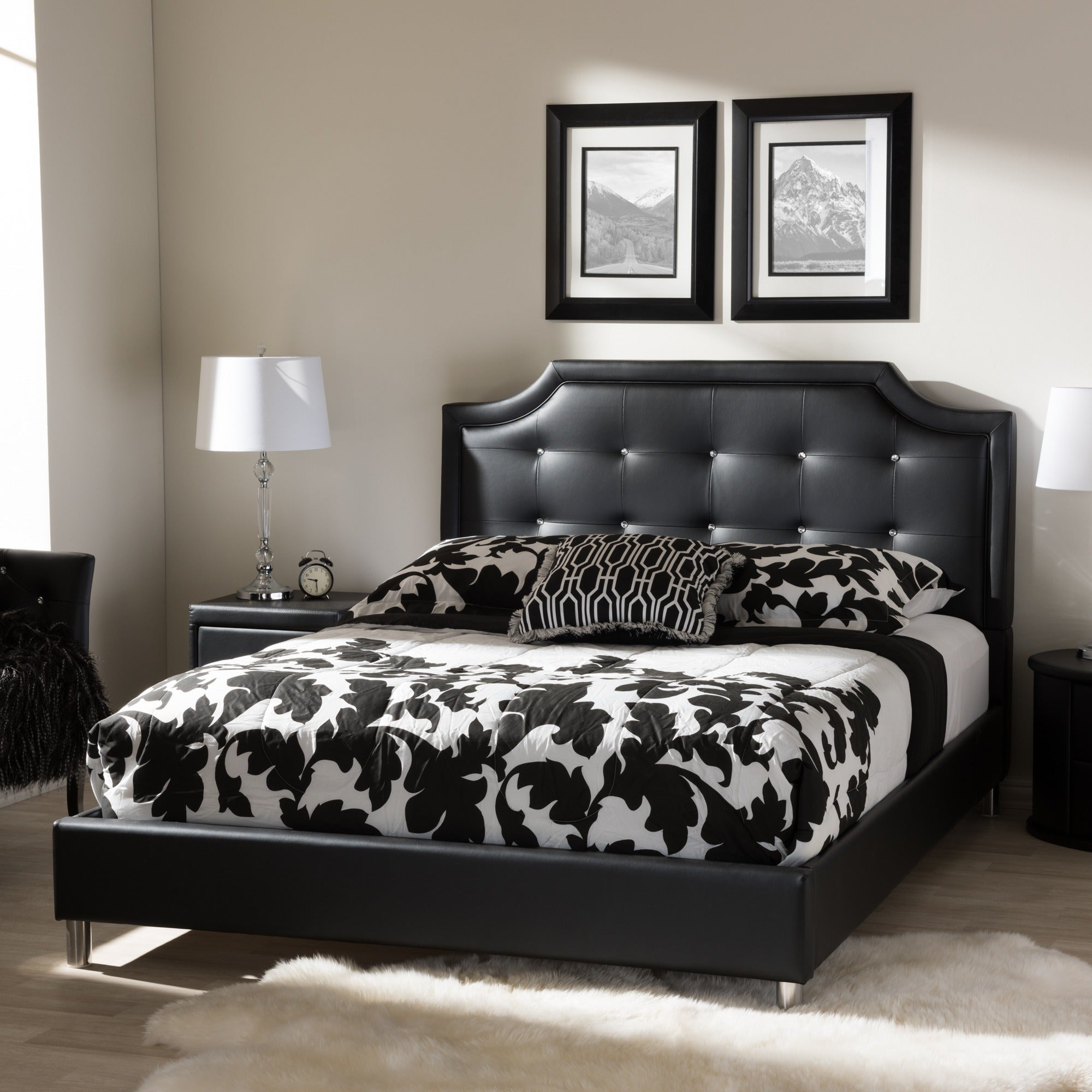 Baxton Studio Carlotta Modern Black Faux Leather Platform Bed With Upholstered Headboard