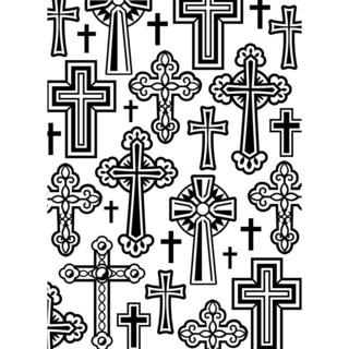 Embossing Folder 4.25inX5.75in-Crosses