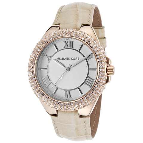 MIchael Kors Women's MK2330 Slim Camillle Crystal Tan Leather Watch