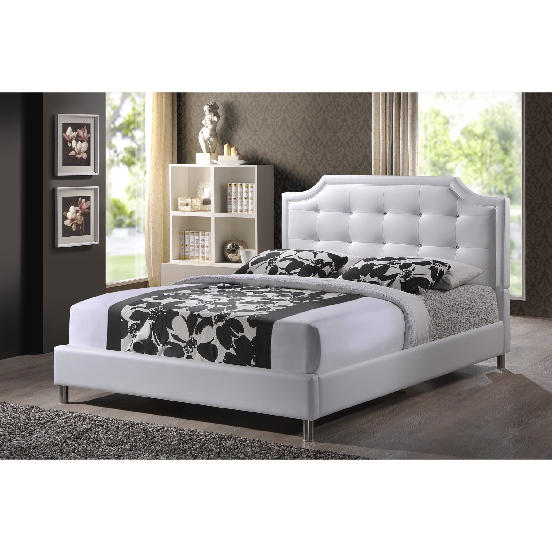 King Size Bed Frame Faux Leather Platform Upholstered Headboard
