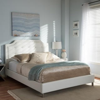 Contemporary White Faux Leather Platform Bed by Baxton Studio