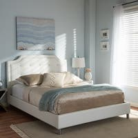 Clay Alder Home McCully White Modern Bed with Upholstered Headboard