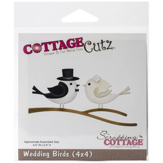 CottageCutz Die 4inX4in-Wedding Birds