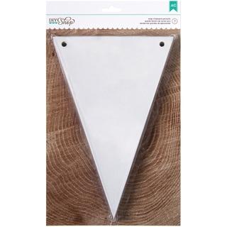DIY Shop Chipboard Banner 7/Pkg-White Pennant, 6inX9in