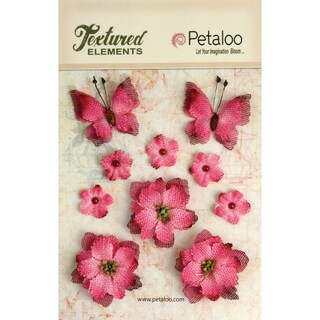 Textured Elements Burlap Blossoms Flowers/Butterflies 10/Pkg-Fuchsia