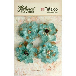 Textured Elements Burlap Blossoms 4/Pkg-Teal