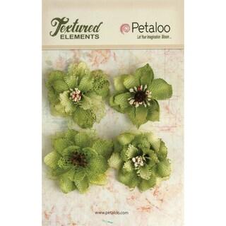 Textured Elements Burlap Blossoms 4/Pkg-Pistachio