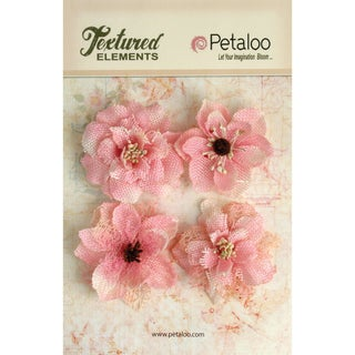 Textured Elements Burlap Blossoms 4/Pkg-Pink
