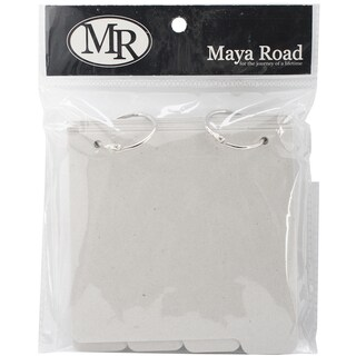 Maya Road Chipboard Album W/Tabs 5inX5.25in-Square: 8 Pages & 2 Rings