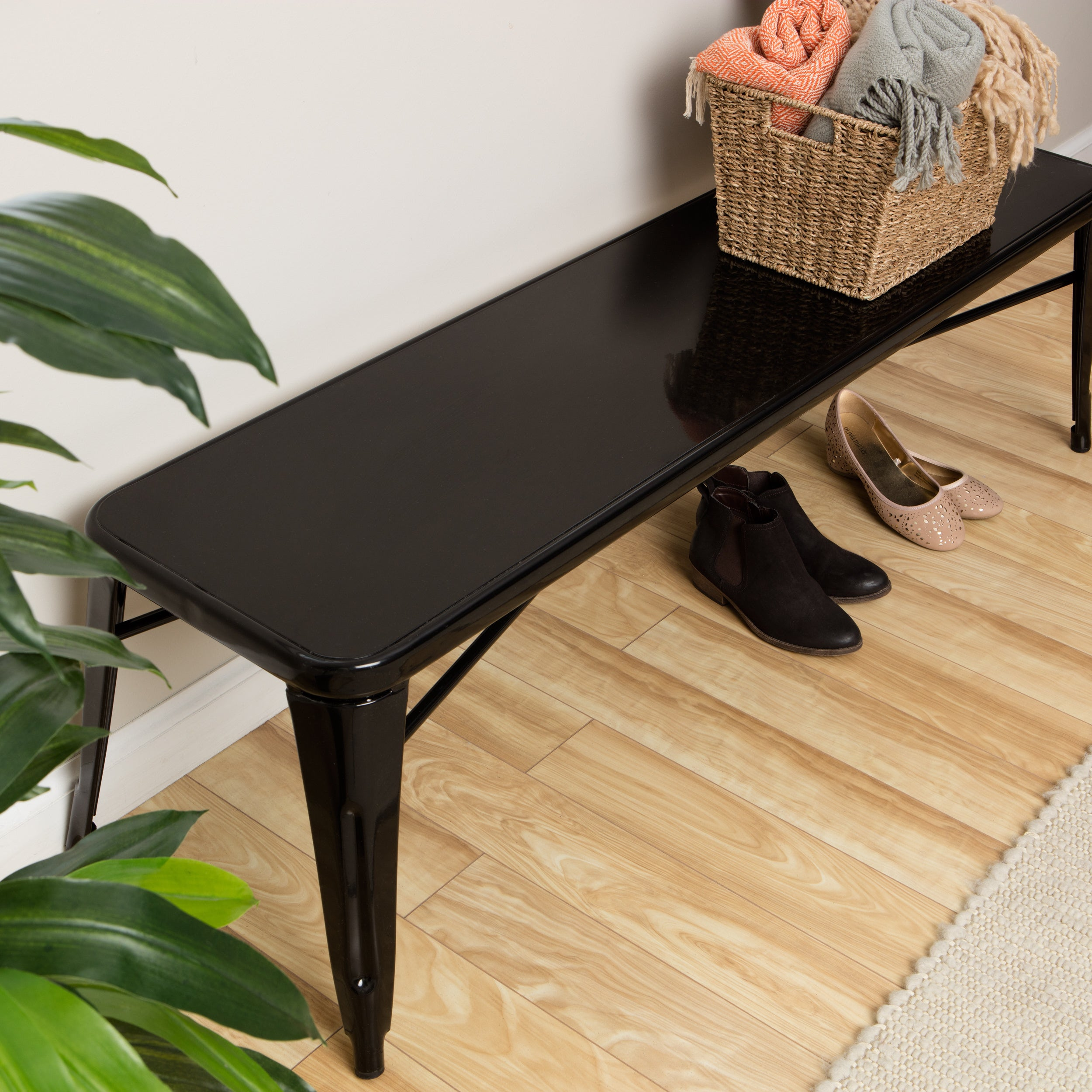 Black Metal Indoor Bench Overstock 9190873