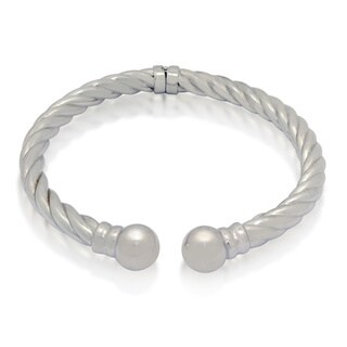 Gioelli Sterling Silver Twisted Tubing Cuff Cape Cod Bangle with Bead Ends
