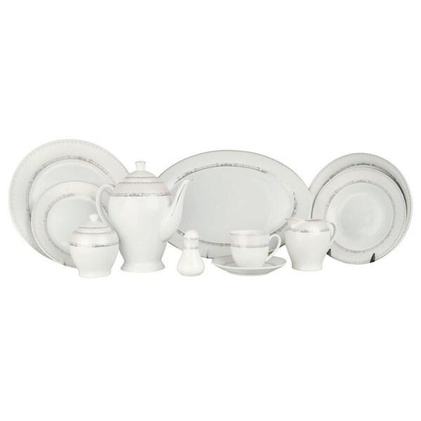 Alpine cuisine white silver line 49 piece dinner set for Alpine cuisine flatware