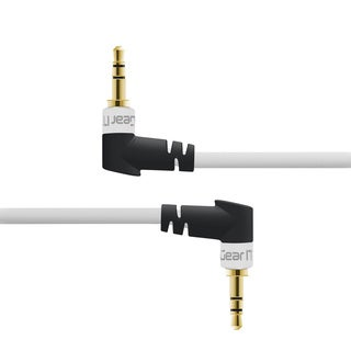GearIT 3.5MM Dual Right Angle White Aux Audio Stereo Cable (Pack of 2)