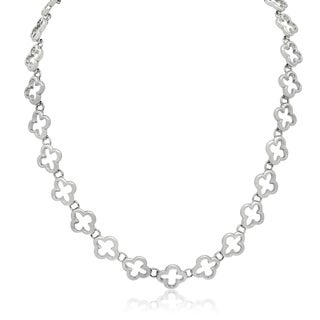 Gioelli Sterling Silver Quilted Quatrefoil Link Chain Necklace