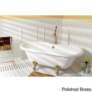 Vintage Collection 67-inch Acrylic Double Ended Clawfoot Tub (Option: white/polished brass)