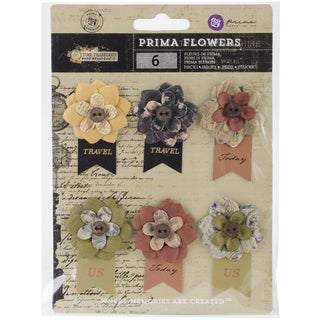Time Traveler Flowers-Paper Hard Time 2.25in W/Banner, 6/Pkg