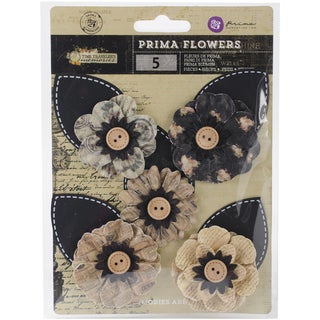 Time Traveler Flowers-Paper In Time 3in W/Button & Leaf, 5/Pkg