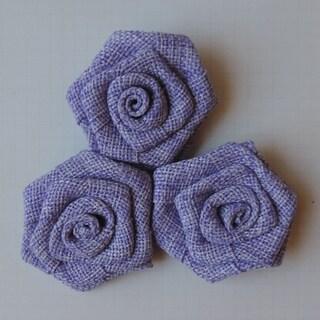 Vintage Linen Burlap Roses 2in 3/Pkg-Lilac