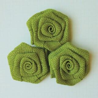 Vintage Linen Burlap Roses 2in 3/Pkg-Lime