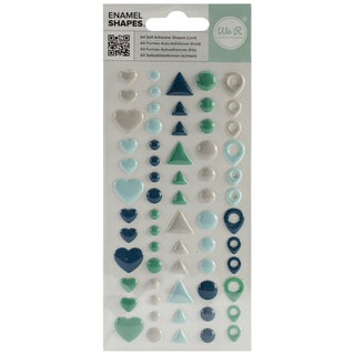Enamel Dots & Shapes-Cool Shapes, 64/Pkg