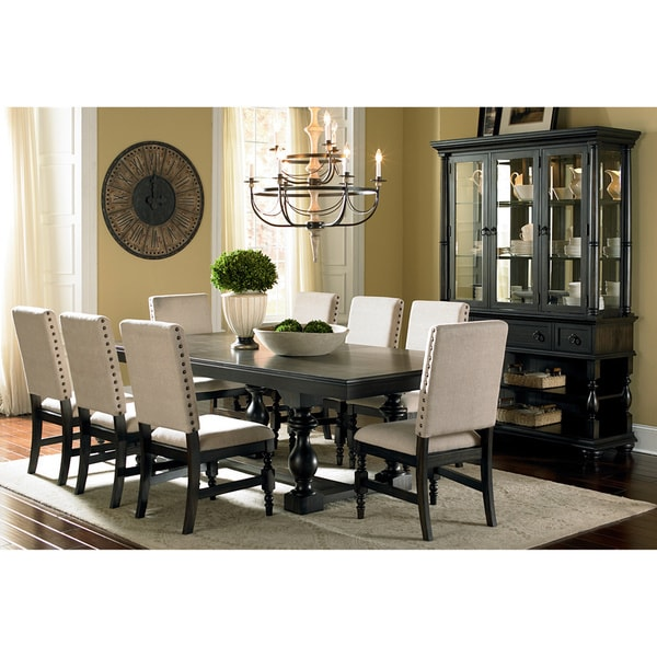 Discount Dining Room Sets Free Shipping: Shop Greyson Living Loraine Trestle Beige Linen Nailhead