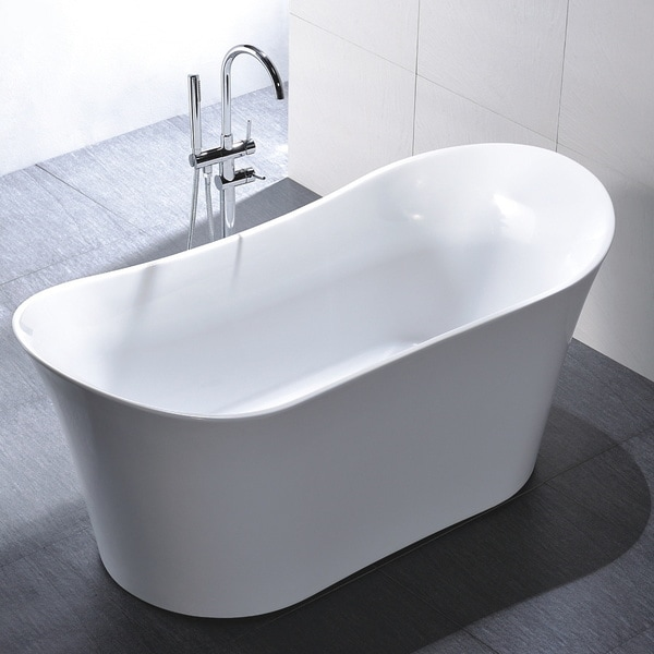 67 Halsey Acrylic Tub: Freestanding 67-inch Slipper Style White Acrylic Bathtub