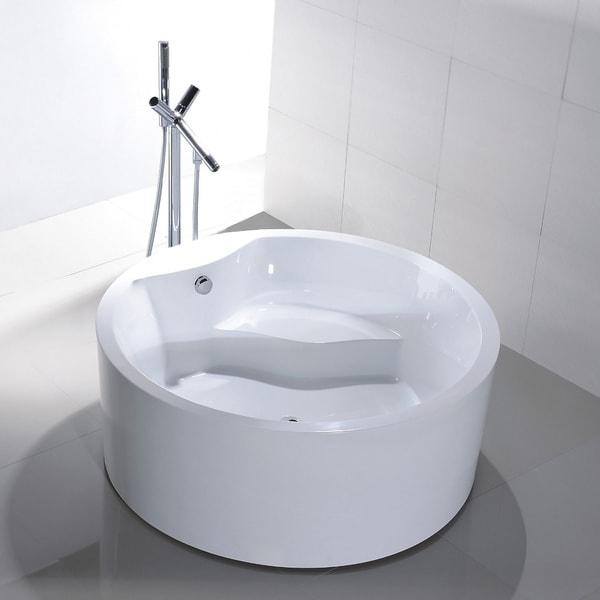 Shop Freestanding 59 Inch Round White Acrylic Bathtub
