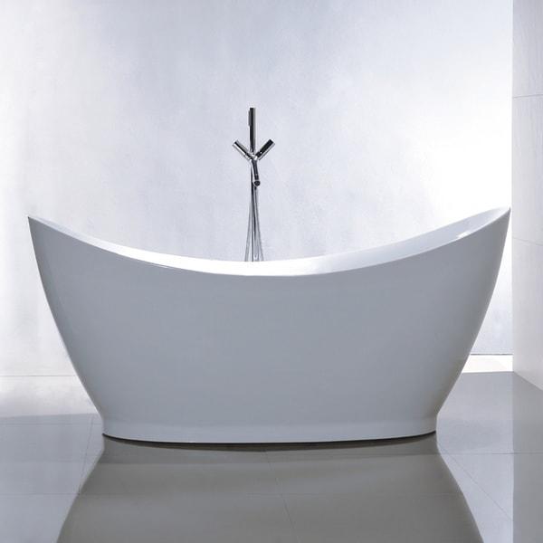 Shop Freestanding 67-inch Double Slipper Style White Acrylic Bathtub ...