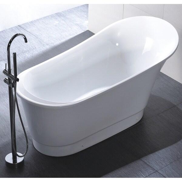 Freestanding 67 Inch Slipper Style White Acrylic Bathtub Free Shipping Toda