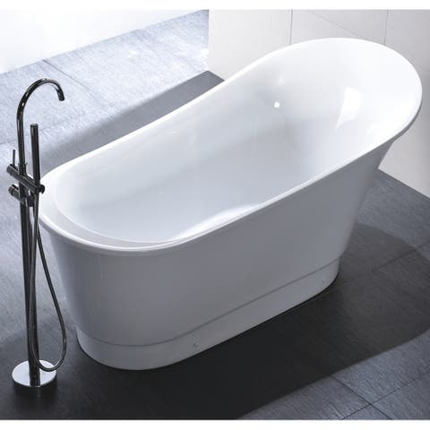 Freestanding 67-inch Slipper Style White Acrylic Bathtub