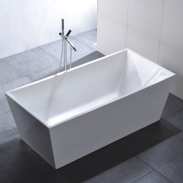 Vanity Art Freestanding 67 Inch Rectangular White Acrylic Bathtub