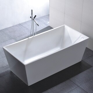Vanity Art Freestanding 67-inch Rectangular White Acrylic Bathtub