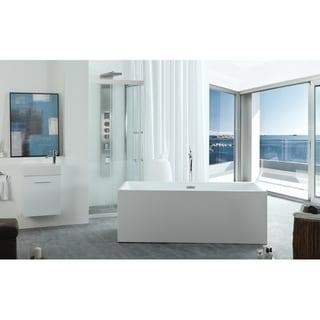 Freestanding 67-inch Rectangular White Acrylic Bathtub