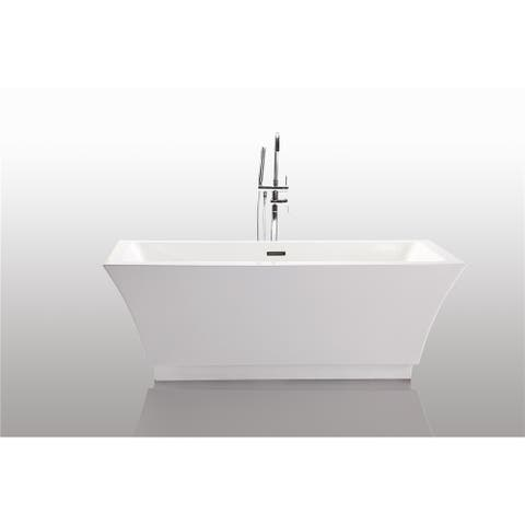 Freestanding 67-inch Rectangular Style White Acrylic Bathtub
