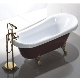 Freestanding 67-inch White and Red Acrylic Claw Foot Bathtub