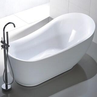Freestanding 71-inch Slipper Style White Acrylic Bathtub