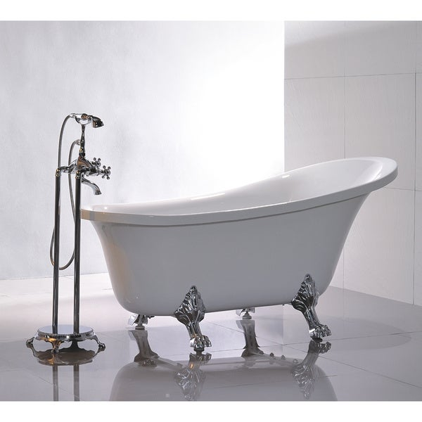 Charmant Freestanding 69 Inch Claw Foot White Acrylic Bathtub