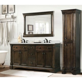 Carrara White Marble Top 60-inch Double Sink Coffee Bean Bathroom Vanity 3-piece Set