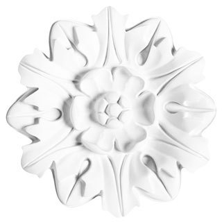 White Primed 8-inch Decorative Rose Medallion